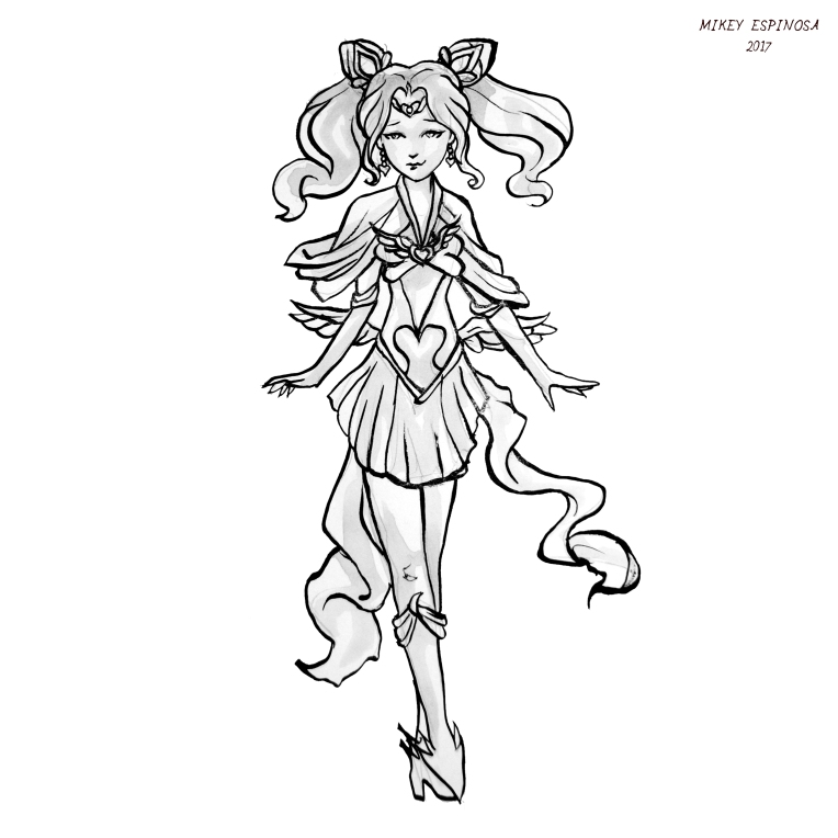 Mikey Espinosa - Sailor Moon art - 2017 - Sailor Chibi Moon sq bnw